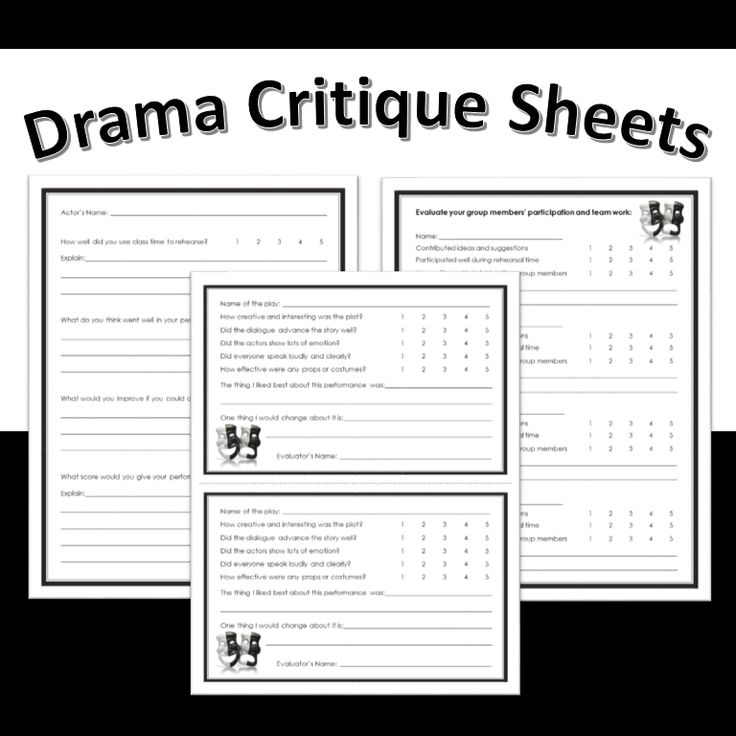 Drama worksheets middle school