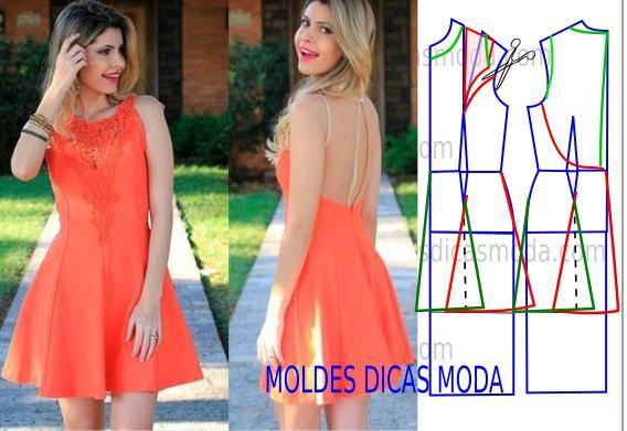 Passo a passo do molde de vestido com renda. Observe com atenção a imagem e faça a interpretação correta da transformação do molde base...