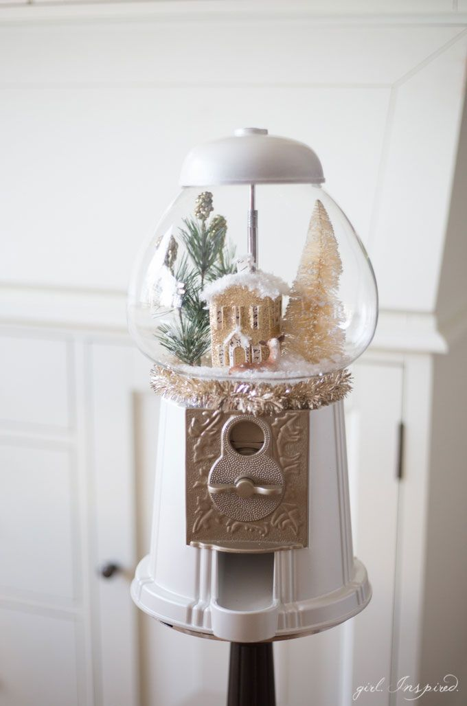 GUMBALL MACHINE!! Use jars and containers from around your home to create stunning Snow Globes and Miniature Snow Scenes for Christmas!