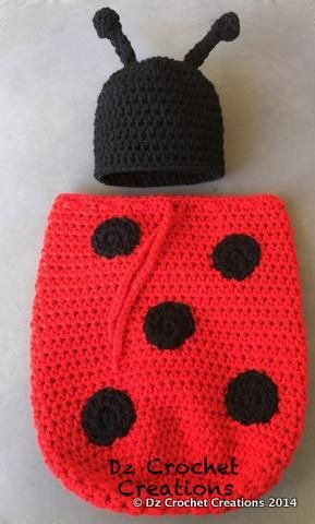 Baby Lady Bug Beanie and Swaddle Sack only $25.00