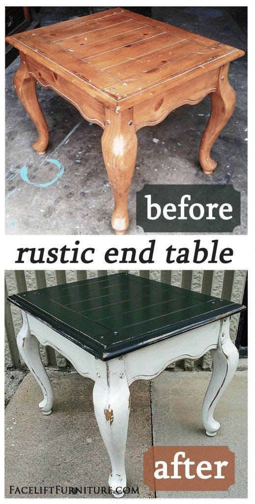 Rustic French End Table in Black & White - Before & After on Facelift Furniture