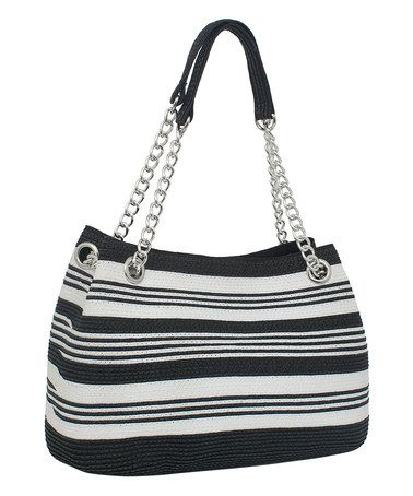 Another great find on #zulily! Black Stripe Chain-Accent Tote #zulilyfinds