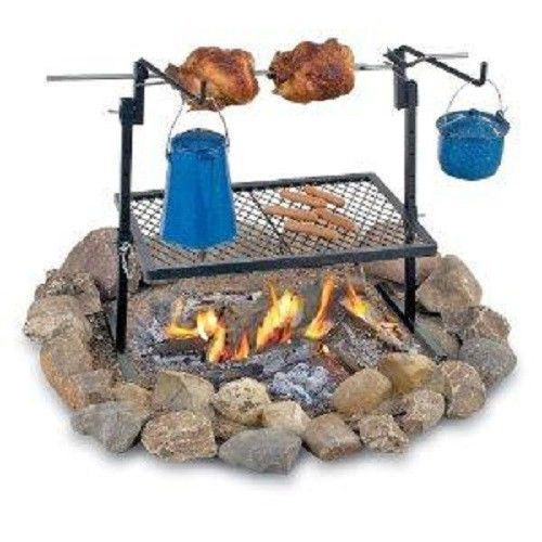 Texsport Rotisserie Spit Grill Outdoor Fire Pit Cooking Grill