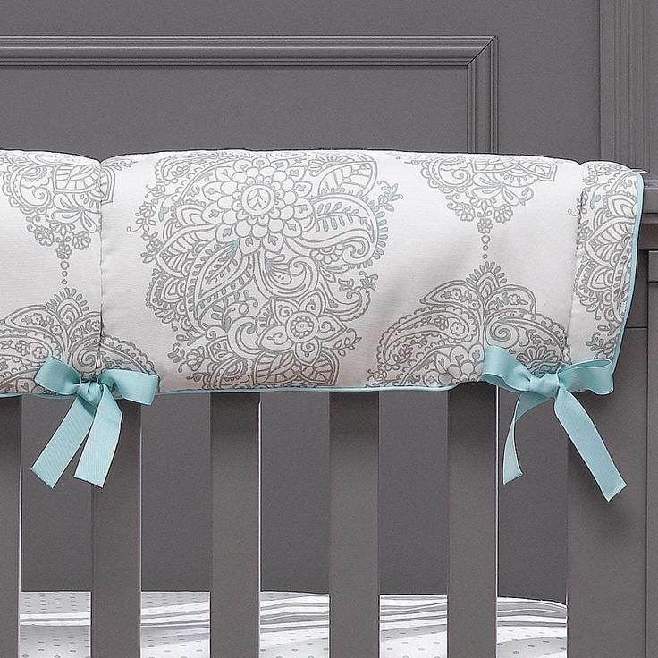Love this classic crib rail cover perfect for an aqua nursery.
