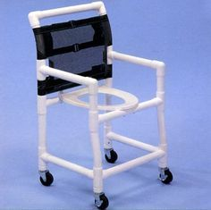 PVC Shower Commode Chair #DisabledProducts >> Learn more about bathroom chairs for accessible bathrooms at http://www.disabledbathrooms.org/folding-shower-seats.html