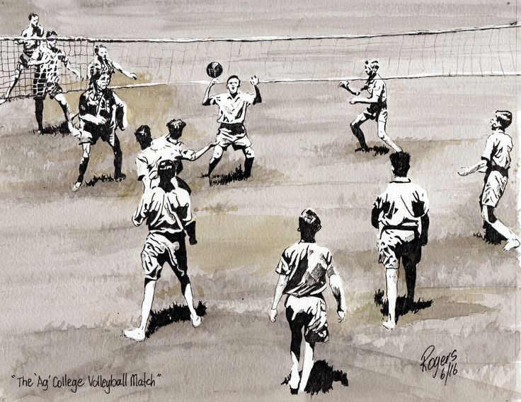 The Queensland Agricultural College Boys playing Volleyball in the 1930s. (Artist:  Kevin Rogers)