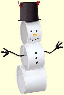 toilet paper roll snowman - or rolled construction paper