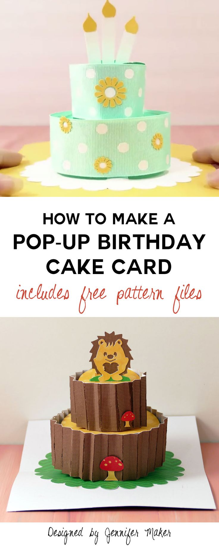 Wow! Make Handmade Cards with this Pop-Up Birthday Cake Card - free pattern and SVG files, plus an assembly video. Too cool.