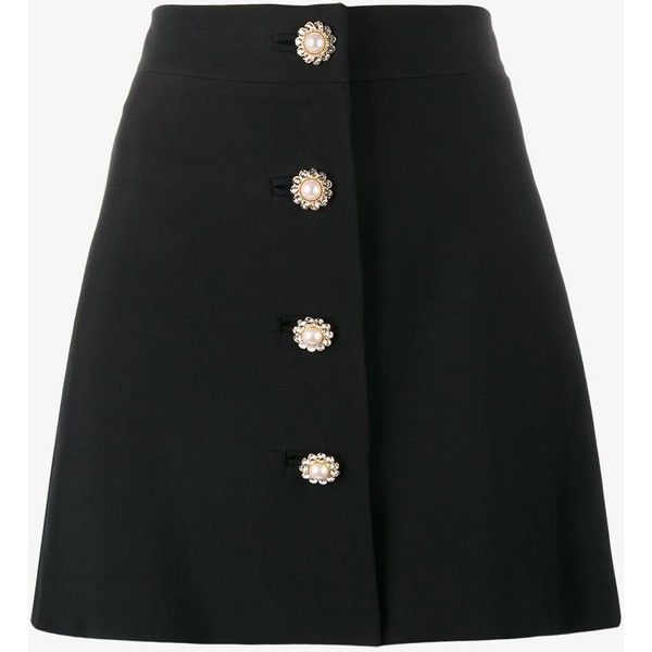 Miu Miu pearl and crystal embellished buttoned mini skirt (£870) ❤ liked on Polyvore featuring skirts, mini skirts, bottoms, saias, faldas, miu miu, black, short skirts, short miniskirt and short mini skirts
