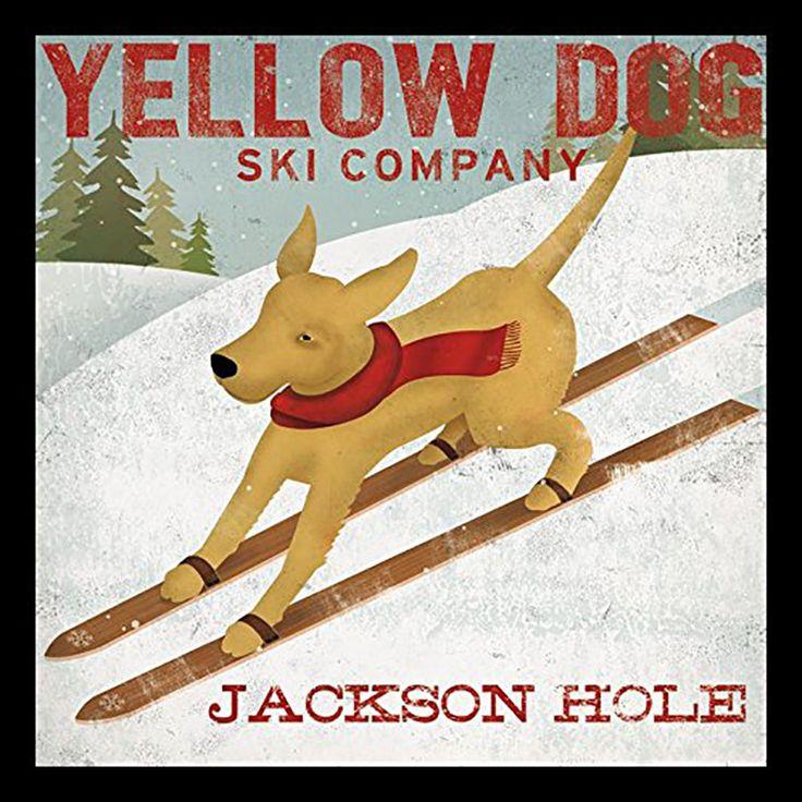 'Yellow Dog Ski Company Jackson Hole' by Ryan Fowler Framed Vintage Advertisement
