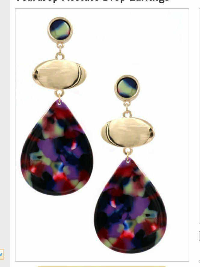 Teardrop Acetate Drop Earrings Mysite Drop Earrings Earrings Teardrop