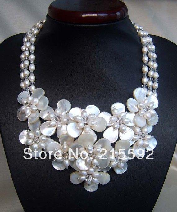 Удивительно! 3 Строки Shell Цветы Ожерелье Романтический Свадебные Украшения День Рождения Necklace3 Оптовая Бесплатная Доставка SP015