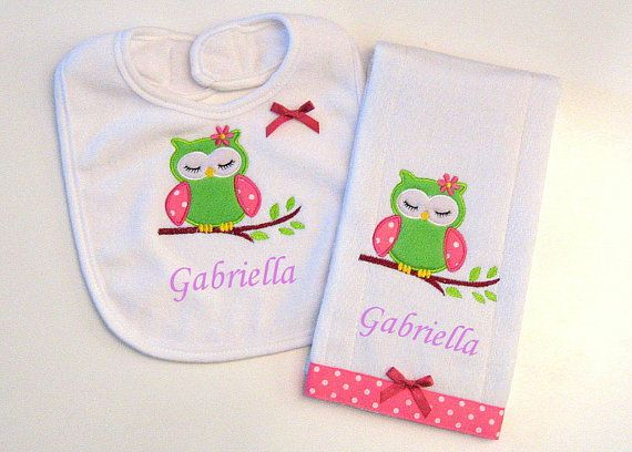 Burp cloths bibs 40 pinterest personalized baby burp cloth and bib gift set by lovablekreations 1999 owl baby gift negle Gallery
