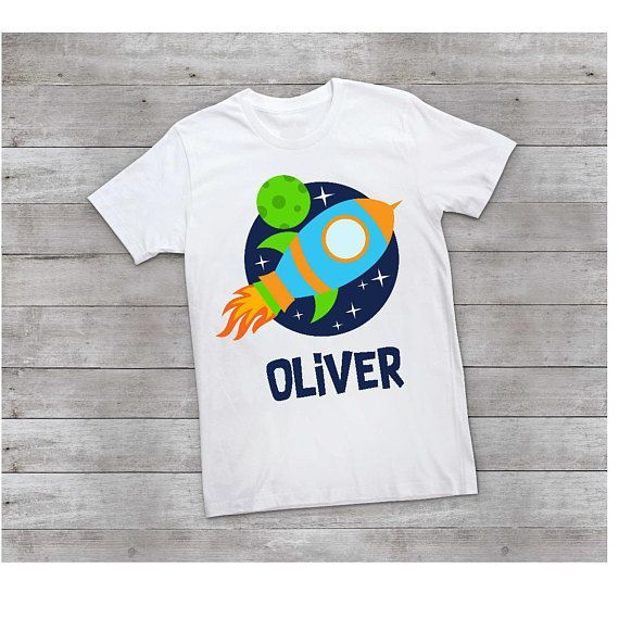 Space Birthday Shirt Rocket Toddler Personalized Shirts Cute Boy Outfits