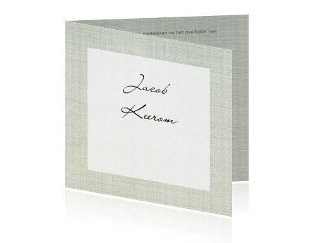 Klassieke bedankkaart grijs jute stof met wit kader