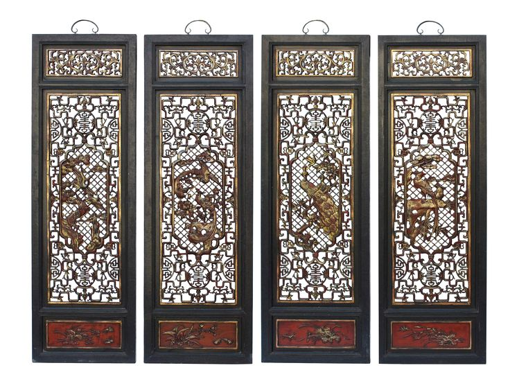 Chinese Flower Birds Red Black Golden Wood Wall Panel Set on Chairish.com