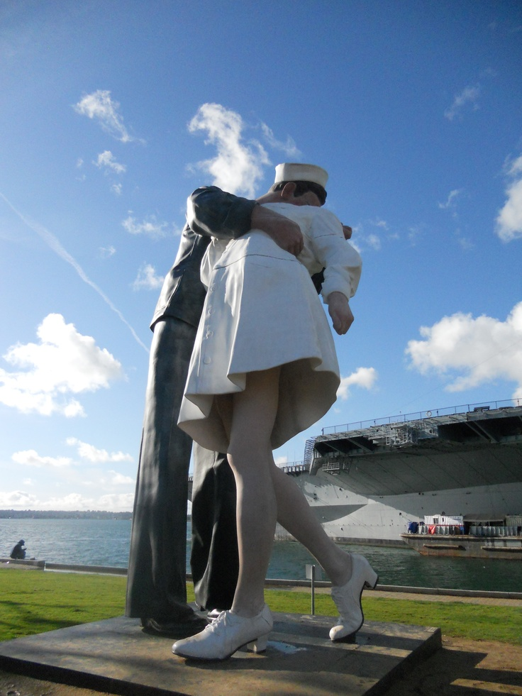 "Go see the famous ""Unconditional Surrender"" statue on the Embarcadero in downtown San Diego"