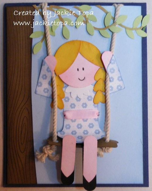 Punch art girl on swing. Dress: Round Tab Punch, Hair: Circle Punches and Heart to Heart, Legs: Word Window, Shoe Tops: 5-Petal Punch, Arms: Photo Corners, Branches: Bird Builder, Swing: Modern Label.