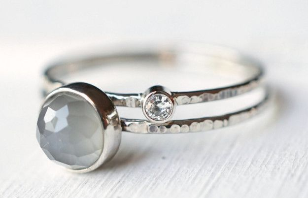 An ethereal grey moonstone and moissanite ring set that proves two rings are better than one. | 31 Stunning Engagement Rings That Aren't Made With Diamonds