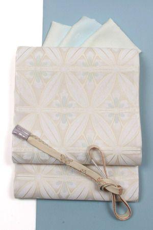 【となみ織物】謹製西陣織袋帯となみ帯スリーシーズン帯七宝/白地絹綾