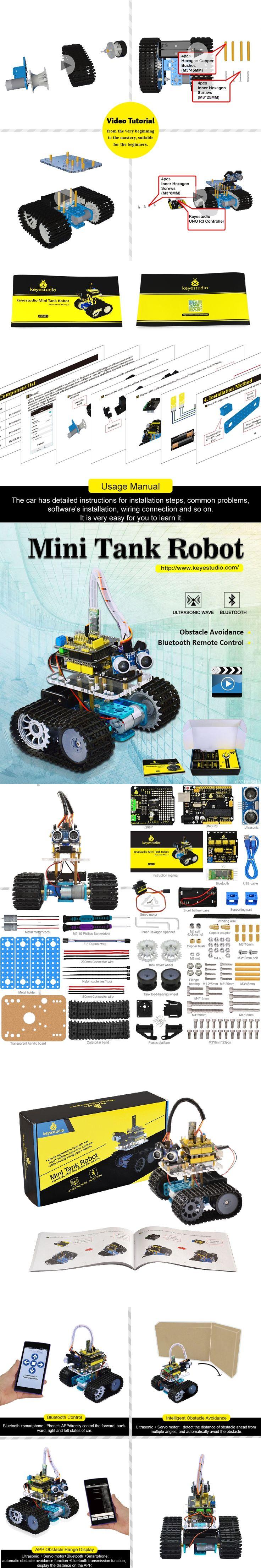 Keyestudio DIY Mini Tank Smart Robot  car kit for arduino Robot starter + manual+PDF+ Installation Video+Demo Video+5 Projects