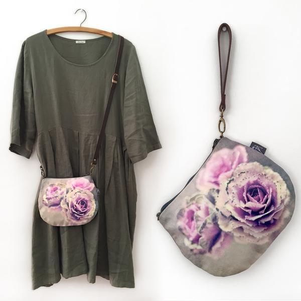 2-in-1 Crossbody / Clutch - Cabbage Flower