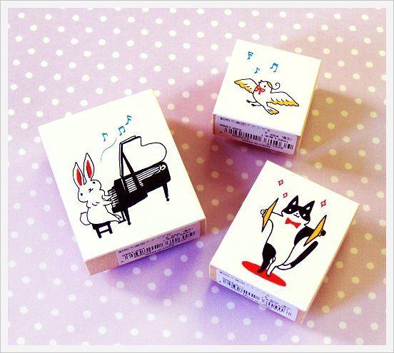 KodomoNoKao Cute Stamp|動物們的音樂會 ( 全23柄 ) 不含收納紙盒~貓咪超可愛!!