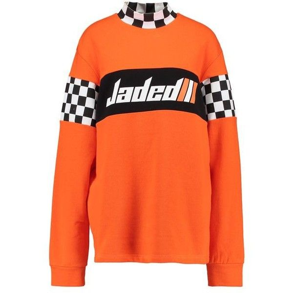 Jaded London HIGH NECK LONG SLEEVEWITH JADED Sweatshirt (698.480 IDR) ❤ liked on Polyvore featuring tops, hoodies, sweatshirts, orange sweatshirt, high neck sweatshirt, long sweatshirt, long length tops and orange top