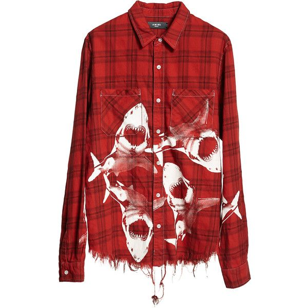Amiri Shark Flannel Shirt ($625) ❤ liked on Polyvore featuring men's fashion, men's clothing, men's shirts, men's casual shirts, red, mens red shirt, mens print shirts, mens red flannel shirt, mens flannel shirts and mens patterned shirts