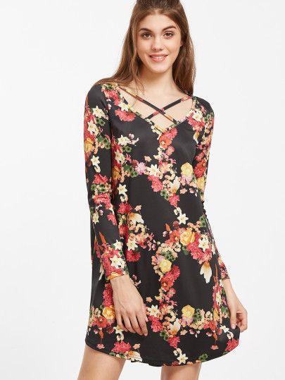 Vestido asimétrico con estampado floral - negro