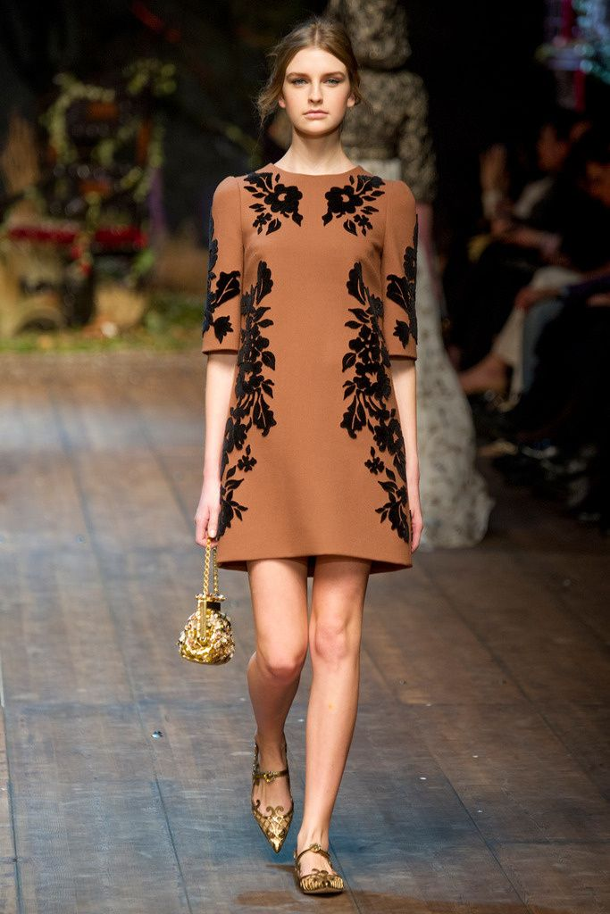 Dolce & Gabbana. Would be equally beautiful with polished calf boots & tights