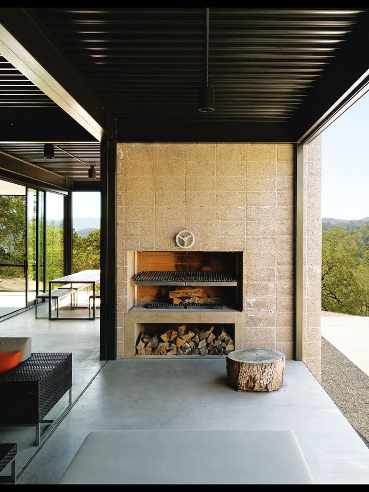 Clean, Scandinavian, modern fireplace