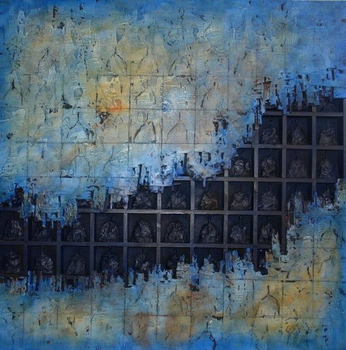 mixed-media on wood 100x100cm by the Jordanian artist Bader Mahasneh