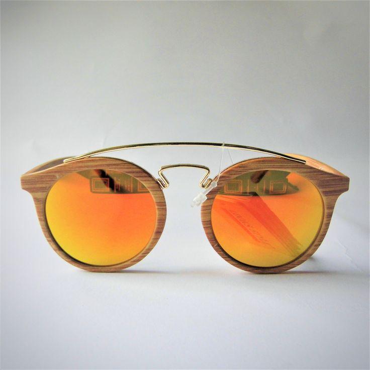 Occhiali da sole rotondi effetto legno