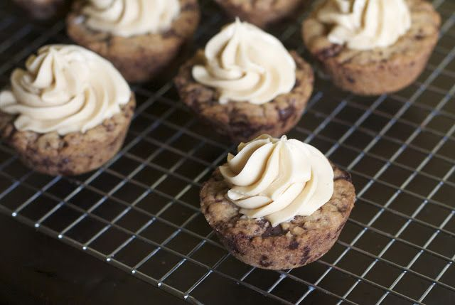 Chocolate Chip Cookie Cups with Peanut Butter Frosting | Recipe ...