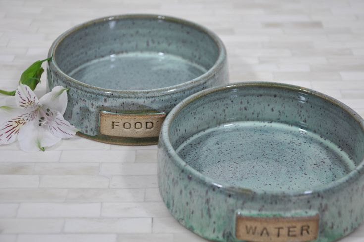 "Pet Bowls, 6""x2"" , Pottery Pet Bowls, Dog Bowls, Cat, Food and Water Bowls, Pottery, Handmade Pottery, Wheel Thrown Pottery, Ready to Ship by ShawnaPiercePottery on Etsy"