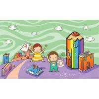 милые школьники, играющие в саду дети векторные иллюстрации
