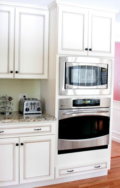 a counter microwave with a trim kit to make it look like a built-in over the wall oven.