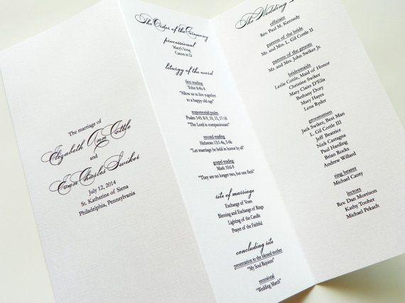 Elegance Pearl Shimmer Trifold Wedding Programs