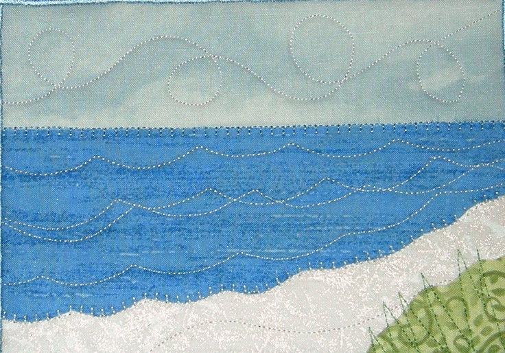 "Beach Quilted Fabric Postcard, Frameable Art, 5"" by 7"". $12.00, via Etsy."