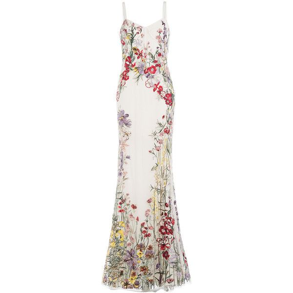 Alexander McQueen Embroidered Floor-Length Gown ($24,875) ❤ liked on Polyvore featuring dresses, gowns, long dresses, multicolor, sheer dress, white embroidered dress, white v neck dress, white evening dresses and tulle ball gown