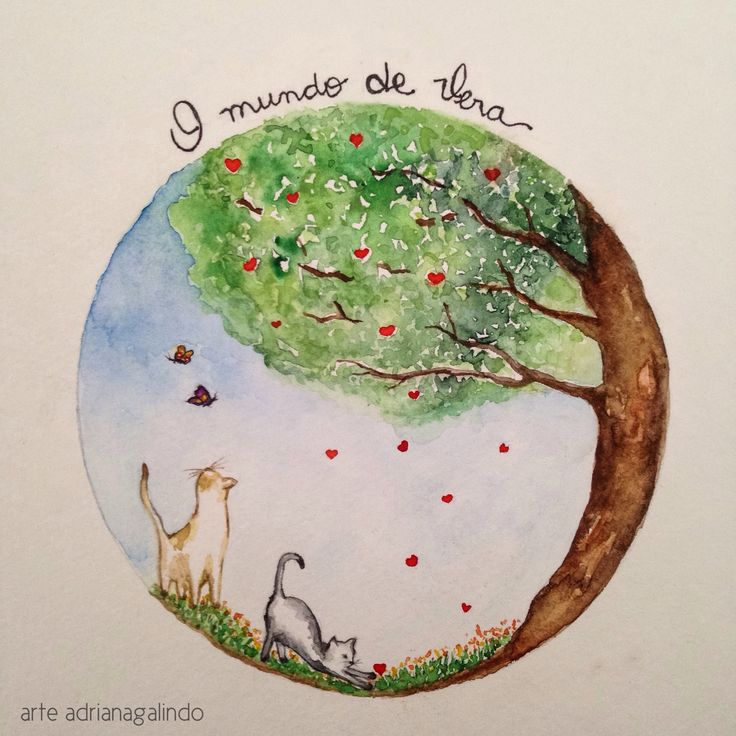 "Commissioned Watercolor/ Aquarela sob encomenda para a logomarca ""O mundo de Vera"" by Adriana Galindo - cat / illustration / ilustração / nature / children"