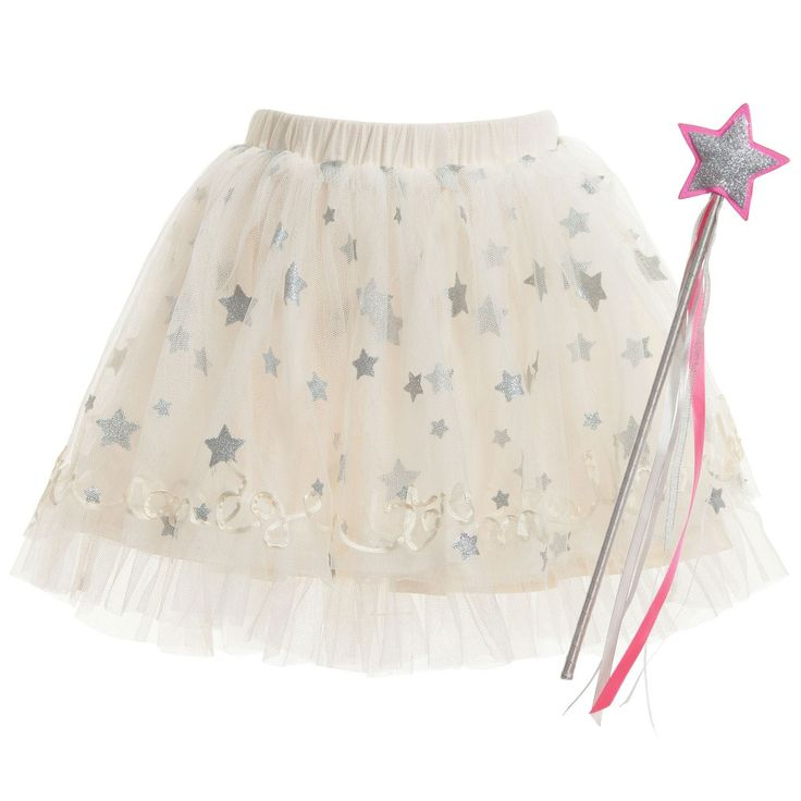 Girls very cute ivory tutu skirt made from soft tulle net with a cotton lining. The front is scattered with pretty, silver glitter stars and it has 'Un tour de manège' which means 'a ride on a merry-go-round' sewn on the hem in ribbon. It comes packaged in a cute cardboard packet with a fabulous, glitter wand. perfect for all little fairies. <br /> <ul> <li>100% polyester tulle net (soft, stretchy feel)</li> <li>100% cotton lining (crisp, poplin feel)</li> <li>Machine wash ...