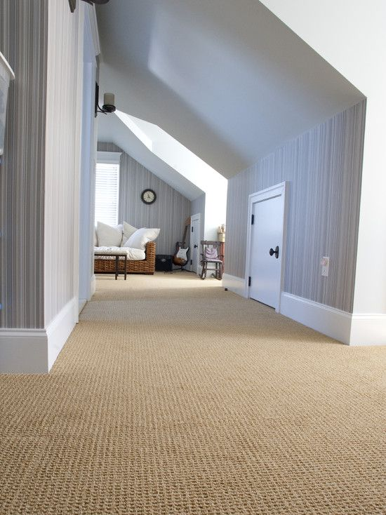 Beige Carpet, white trim, blue/grey walls
