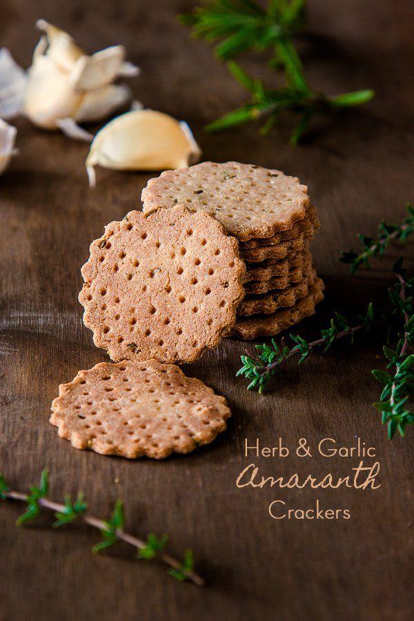 Herb and Garlic Amaranth Crackers #vegan #glutenfree  DeliciousEveryday.com