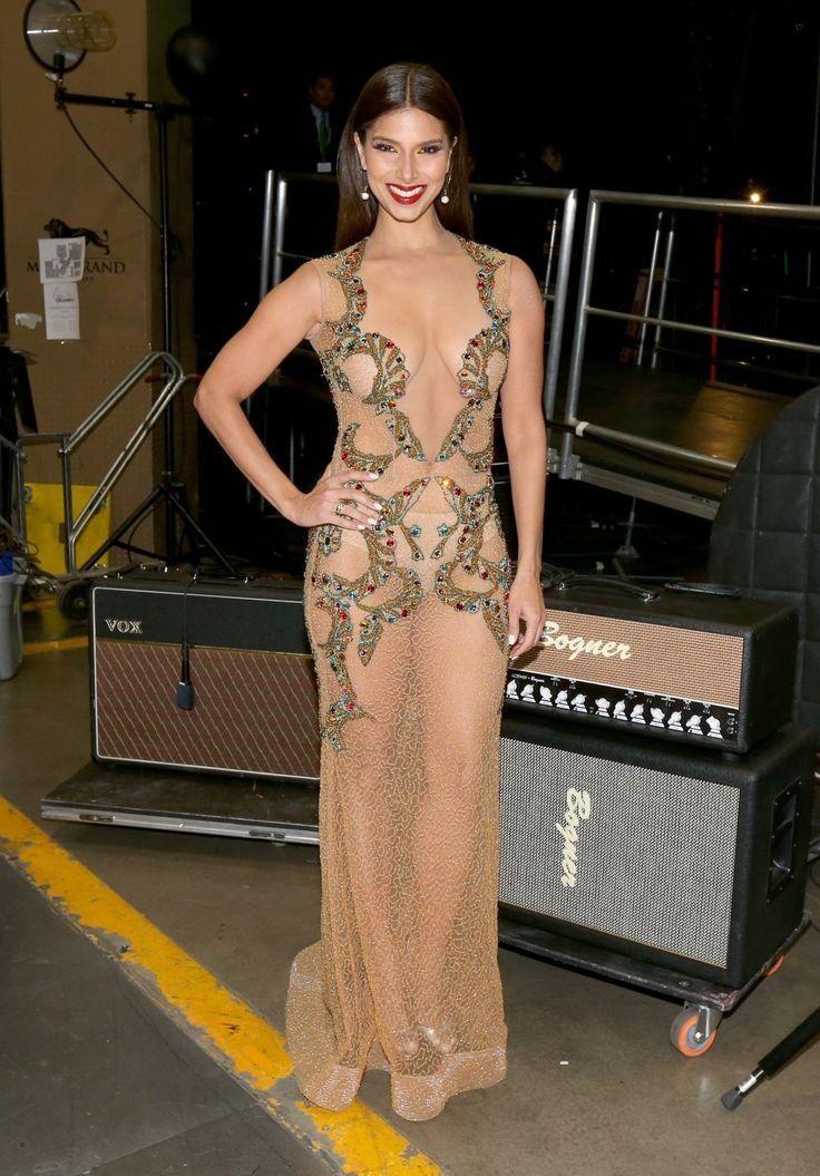 Roselyn Sanchez.. Ecliptica Fall 2014 nude dress..... - Celebrity Fashion Trends