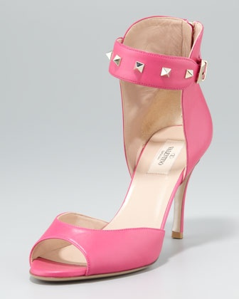 Rockstud Ankle-Strap Sandal by Valentino at Neiman Marcus.