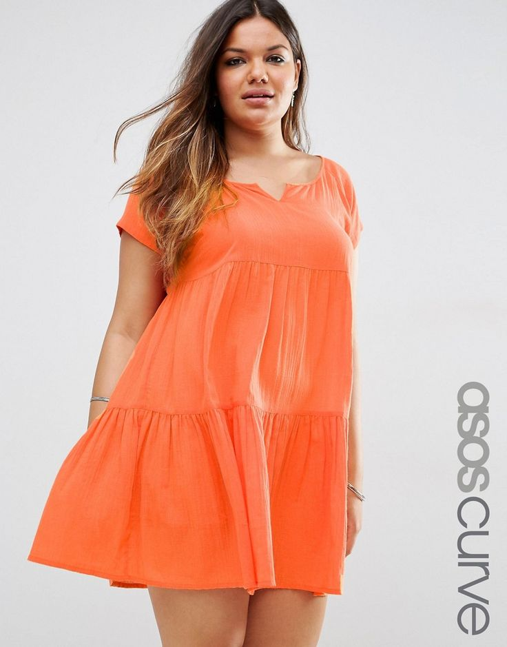 ASOS CURVE Tiered Smock Beach Dress