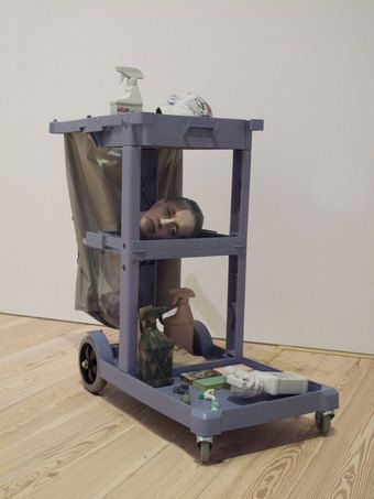 Josh Kline Josh Kline, Cost of Living (Aleyda), 2014. 3D-printed sculptures in plaster, inkjet ink and cyanoacrylate, with janitor cart and LED lights, overall: 44 1/2 × 36 × 19 ½ in. (113 × 91.4 × 49.5 cm). Whitney Museum of American Art, New York; Promised gift of Laura Rapp and Jay Smith P.2014.118a-o © Josh Kline