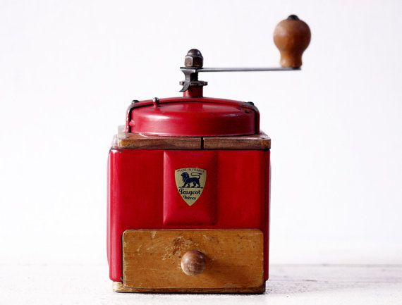 FRENCH PEUGEOT RED Metal and Wood coffee grinderRed Metals, Peugeot Red, French Peugeot, Coffee Grinder, Coffe Grinder, Wood Coffee, Vintage Coffee, Coffee Tim, Coffe Beans